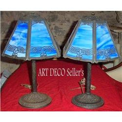 A  Beautiful pair stained glass lamps #2392522