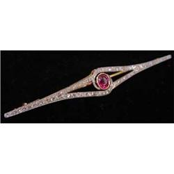 Edwardian Platinum, Diamond & Ruby Pin #2392527