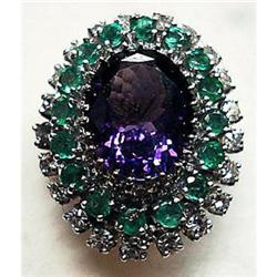 Diamond/Emerald/Amethyst Ring in White Gold #2392528