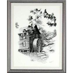 Black White Mill landscape painting MacIsaac #2392533