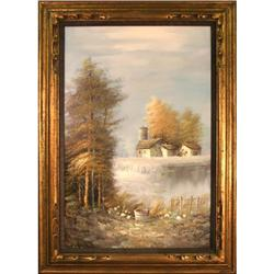 Farmhouse Pond landscape painting Enderby #2392546
