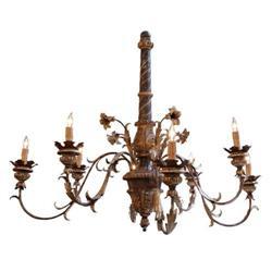Italian Wood and Iron Chandelier #2392626