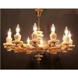 Italian Onyx and Brass Chandelier #2392637