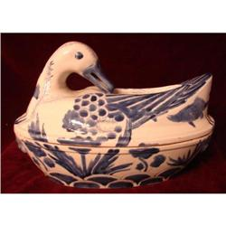 CHINESE EXPORT BLUE AND WHITE DUCK TUREEN #2392648