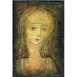 """Timid Girl"" by Omar Chkhaidze - Rare painting #2392737"
