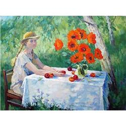 """Girl with poppies"" - Russian traditions school#2392739"