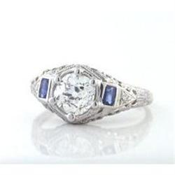 1.00ct OMC Diamond and Sapphires in 14k #2392743