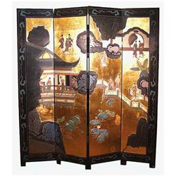 GILDED BLACK LACQUER 4 PANEL FLOOR SCREEN F016 #2392784