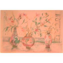 Chinese Vases Flowers  litho by  Edna Hibel #2392806