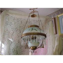 Antique Oil Chandelier, Copper Frame, and #2392807