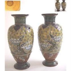 Pair Doulton Lambeth Vases (By Eliza Simmons.) #2392881