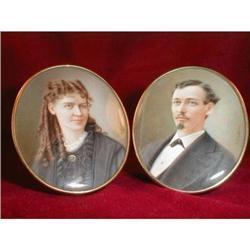 Portrait MINIATURES Prosdocimi COUPLE 1860s - #2392885