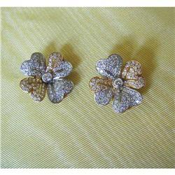 1980~18K Y&W GOLD & PAVE'DIAMOND PETAL EARRINGS#2392890