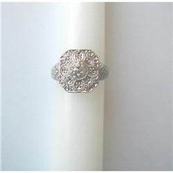 18K & EUROPEAN-CUT DIAMOND RING #2392893