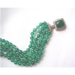 Period 1930's Plat./Diamond/Green Onyx 4-row #2392896