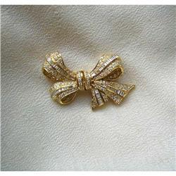 60s~18K Y GOLD & DIAMOND PAVE' BOWKNOT PIN #2392903