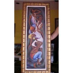 Haitian Painting by E. Wah 12 x 40 #2393094