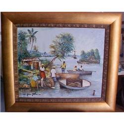 Haitian Painting by Jean Gilles 20 x 24 #2393101