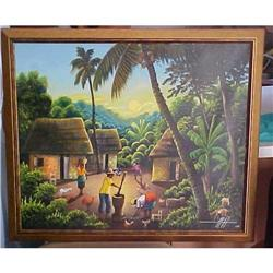 Haitian Painting by Simeon Michel 20x24 #2393102