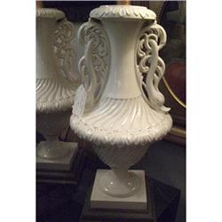 Pair of Vintage White Ceramic Dolphin Filagree #2393115