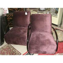 Pair of Deep Purple Deco Style Chairs #2393117