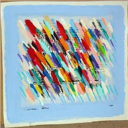 Calman Shemi, Jazz Notes, Signed SS on Canvas #2393132