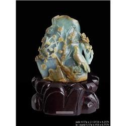 Chinese Jade Plum Flower Birds Carved Display #2393146