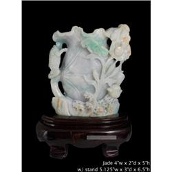 Vintage Chinese White Jade Carved Lotus Fortune#2393149