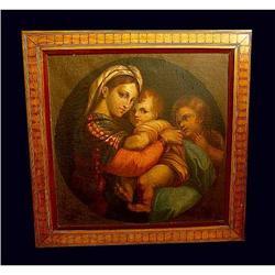 19c Raffaello Madonna Oil Painting Old Master  #2393363