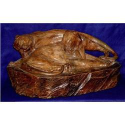 19c Wild Cats Terracotta Sculpture Panther #2393365
