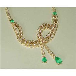 14kt Gold Emerald 17.4ct Diamond Necklace 14k #2393366