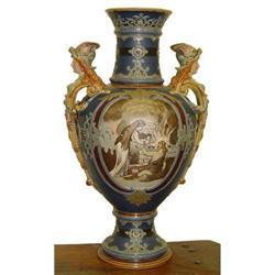 Huge Mettlach Nordic 2 Handle Vase Woman #2393368