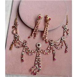 19c Georgian Gold Ruby Pearl Necklace Earrings #2393369