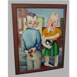 Muller Russian American Boy Girl Oil Painting #2393373