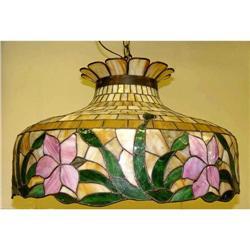 B H BRADLEY HUBBARD Stain Glass Chandelier #2393375