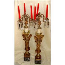 19c French Bronze Angel Girandole Candelabra #2393381