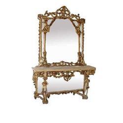Italian Rococo Mirror Console Cherub  Marble #2393383