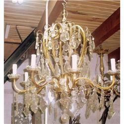 French cast bronze frame crystal chandelier   #2393388