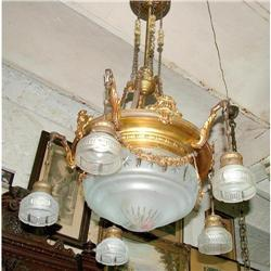 French Empire brass crystal chandelier Louis 16#2393390