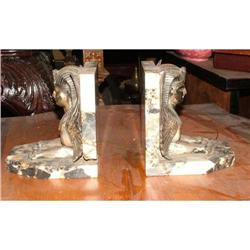 Egyptian marble bronze bookends sphinx  #2393398
