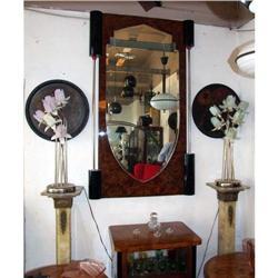 Deco wall Mirror metal bakelite root wood #2393405