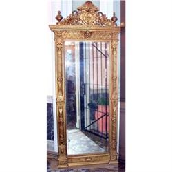 French Empire carved wall Mirror gold gilt  #2393411