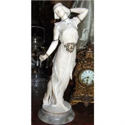 Beautiful Art Deco  Lady  alabaster sculpture #2393413