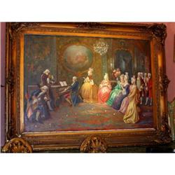 French Musical scene signed  painting framed  #2393415