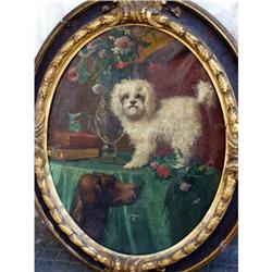 Italian Dog painting  signed oval frame    #2393419