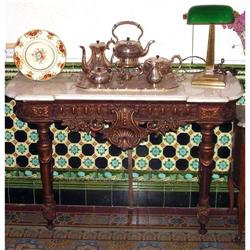 French Gilt carved wood console table marble #2393429