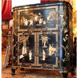 Chinese wood bar Cabinet  carved Jade lacquer #2393430