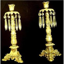 Pair of 19th C. Bronze & Crystal Candlesticks #2393445