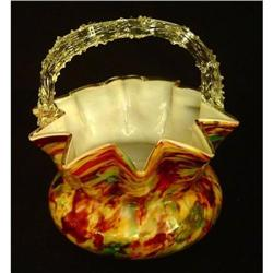 "Antique English Art Glass ""Wedding Basket"" #2393449"