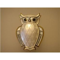 Brooch  Owl  Sterling  White and Grey Enamel #2359863